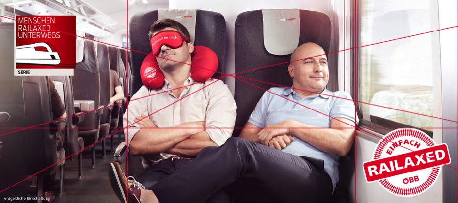 Perspektivität der Werbeanzeige der ÖBB-Kampagne RAILAXED