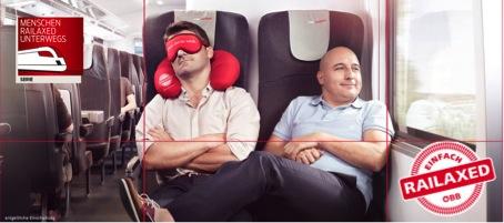Planimetire der Werbeanzeige der ÖBB-Kampagne RAILAXED