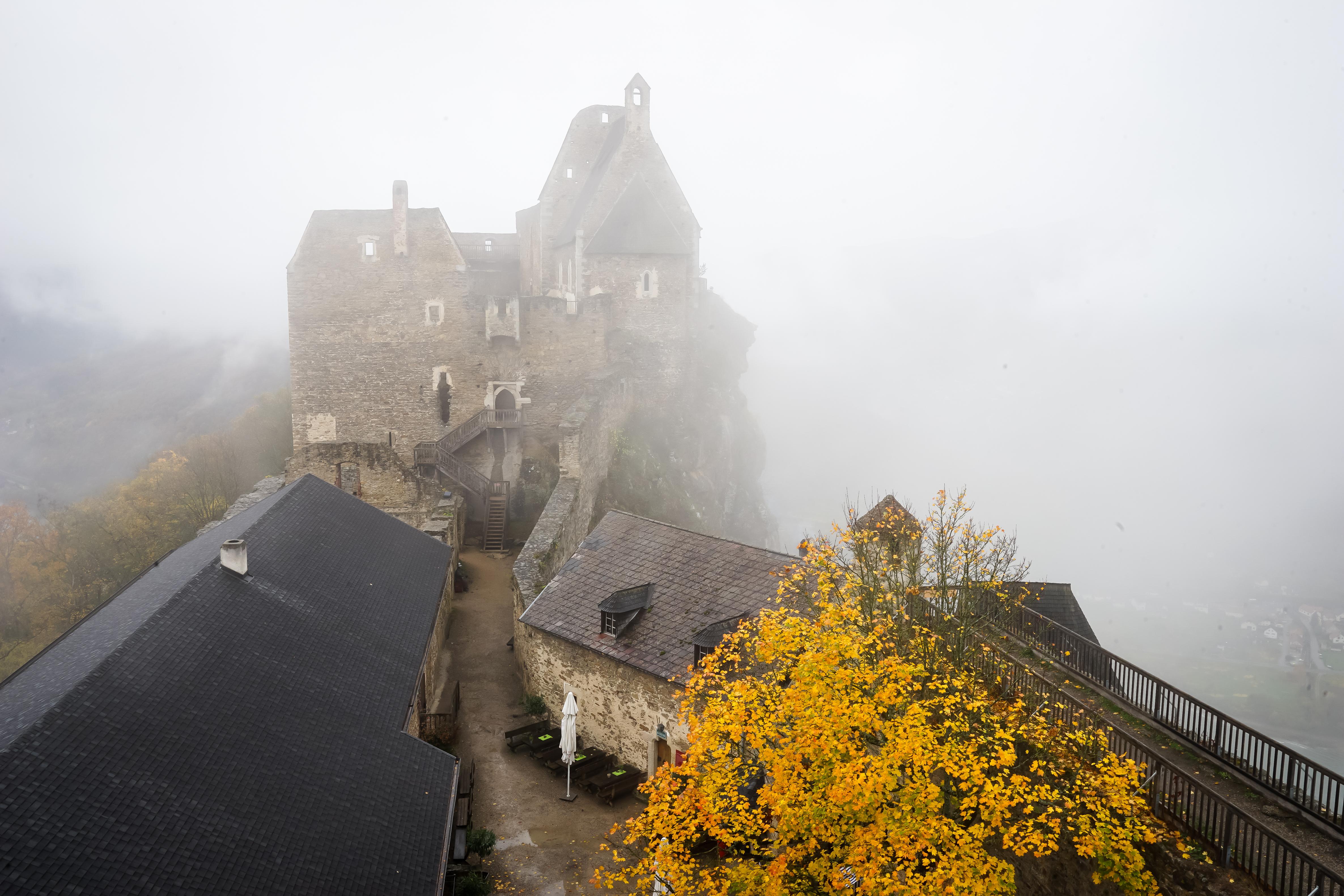 Burgurine Aggstein im Nebel