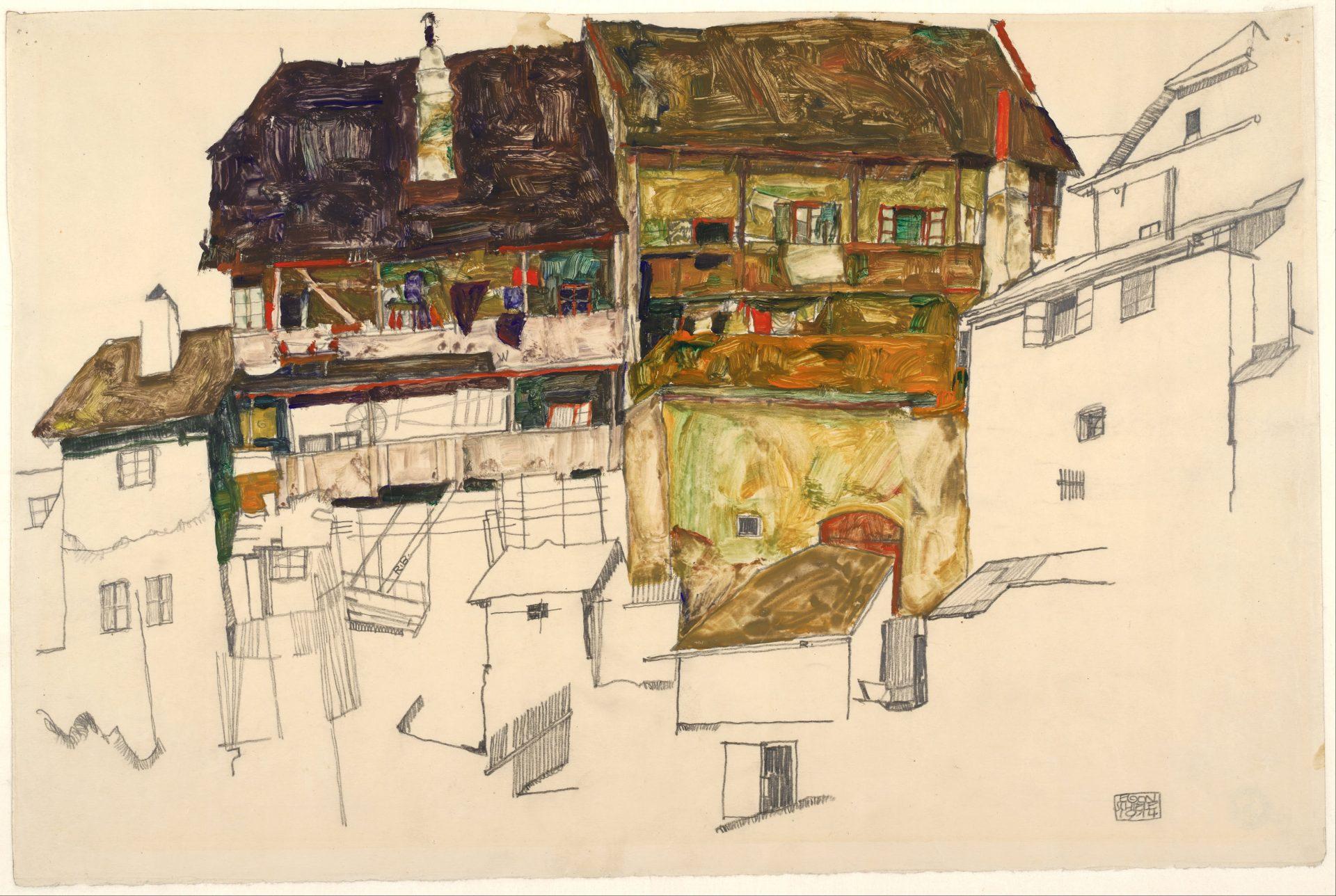 Old Houses in Krumau, 1914 - Albertina Wien
